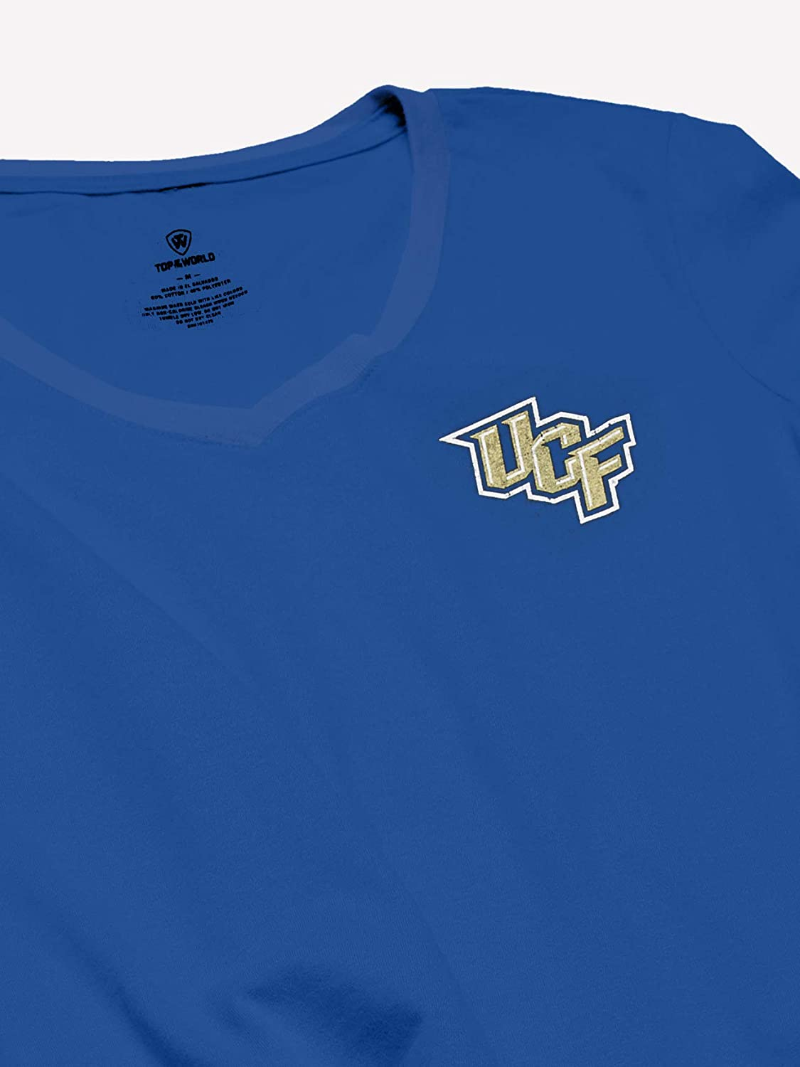 Top of the World NCAA Womens Trim Modern Fit Premium Sueded Cotton//Poly Blend V-Neck Short Sleeve Team Color Tee