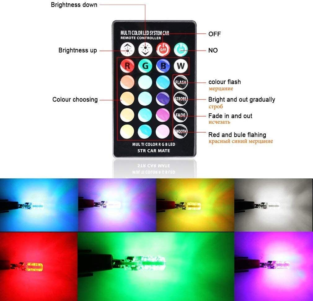 8pack Set W5W RGB LED Bulbs with Remote Controller RGBW 501 194 168 6SMD 5050 Silicone Strobe Light Use for Reading Light Roof Light Trunk Light,Interior Light 194 T10 LED Atmosphere Lights