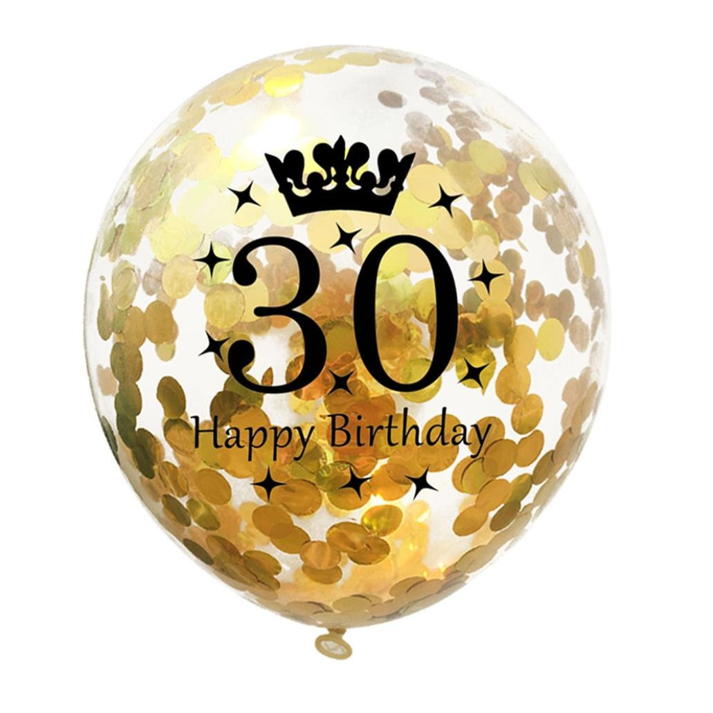 Gbell Gold Latex Confetti Balloons Decorations - Pack of 5 - Great for 18 21 30 40 50 Years Old and Happy Birthday Party Anniversary Decor (30)