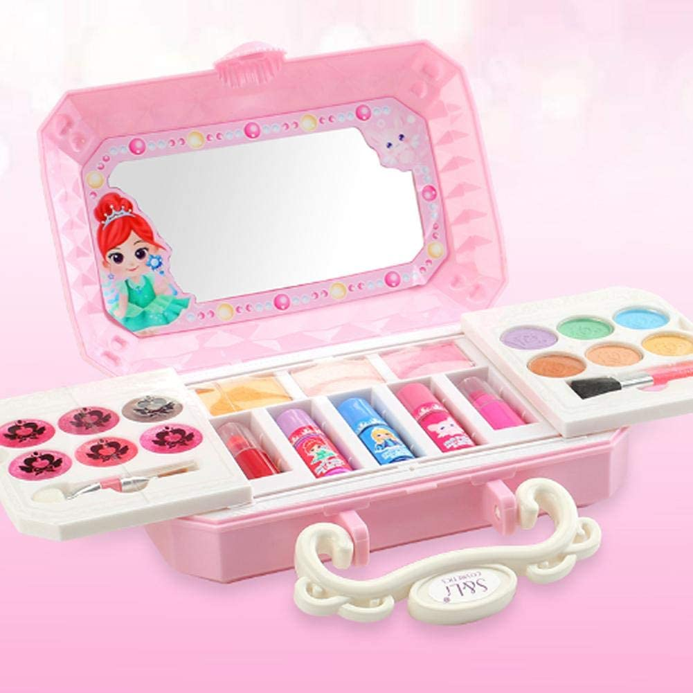 signmeili 23pcs Disney Frozen Elsa and Anna Beauty Makeover Compact with Mirror for Girls, Including 6 Eye Shadow 6 Lip Gloss 3 Blush 2 Lipstick 3 Nail Polish 2 Makeup Brush, Ages 3 and up Everywhere