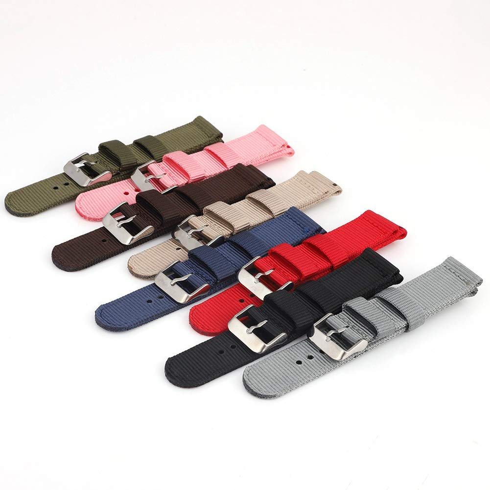Bornbayb Solid Color Premium Nylon Nato Watch Straps Canvas Fabric Watch Band (Width: 18mm, 20mm, 22mm, 24mm) by Bornbayb (Image #6)