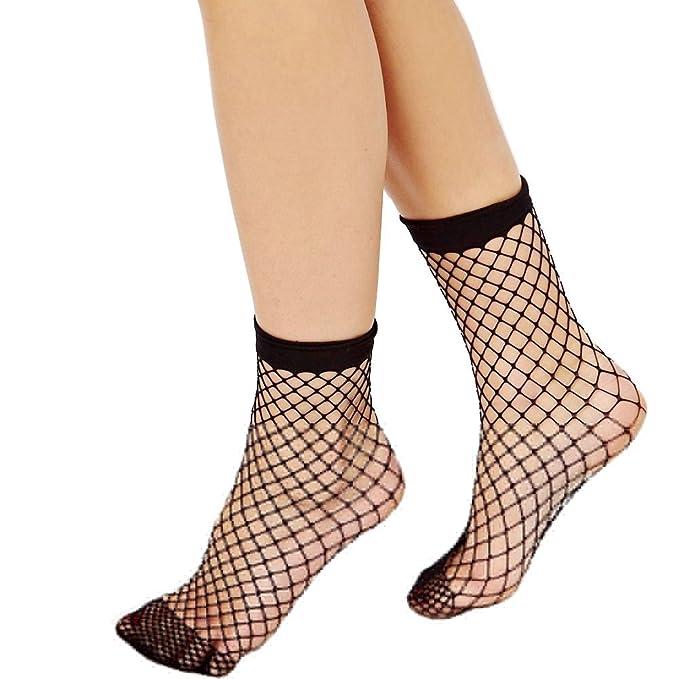 bis zu 80% sparen Auschecken Online bestellen Damen schwarze dünne Netzstrümpfe Netz kurze Knöchel Knie ...