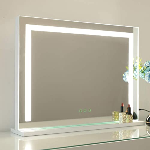 WAYKING Vanity Mirror with Light Strip, Lighted Makeup Mirror with 3 Lighting Colors, USB Charging Port and Touch Sensor, Wall-Mounted and Tabletop Mirror, White L22.83 x H17.32 inch