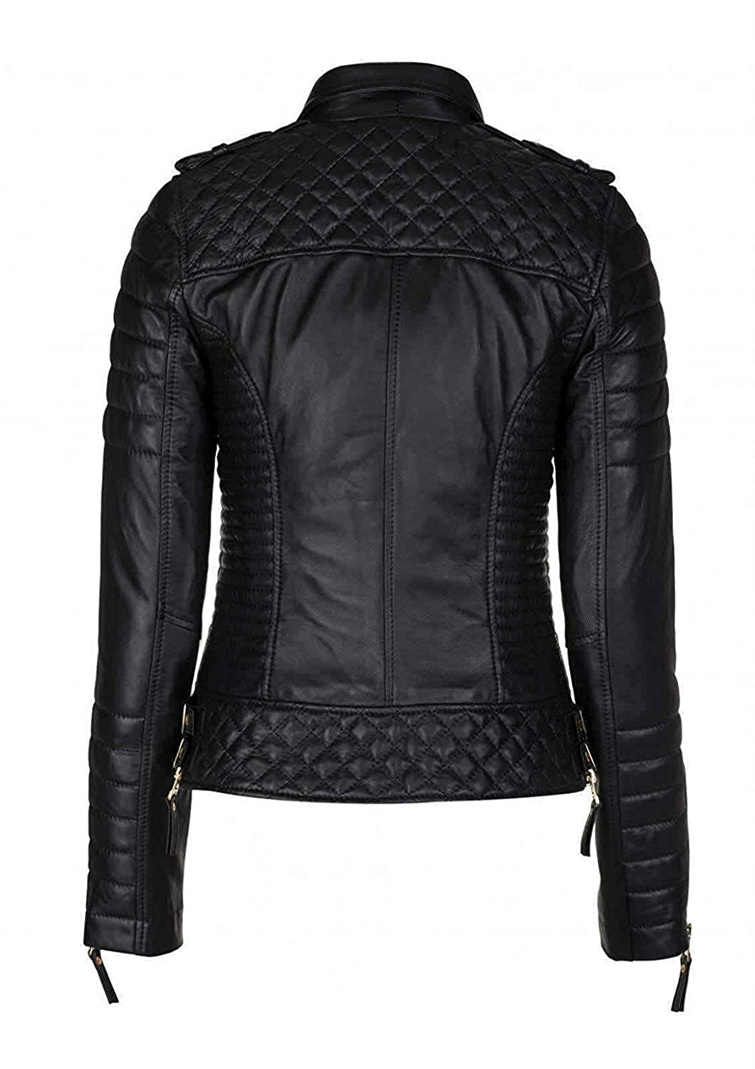 Habbiler Women's Quilted Slim Fit Zipper Pockets Black Motorcycle Leather Jacket