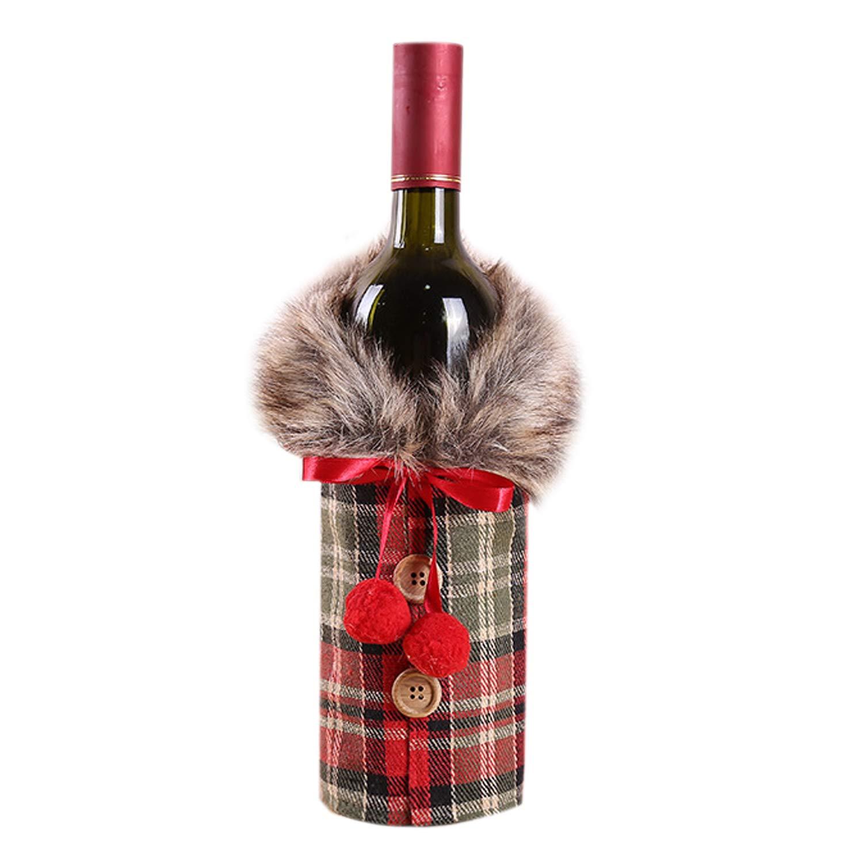 De feuilles 2 Piece Christmas Red Wine Bottle Bag Cover XmasTable Dinner Decoration 2pcs Multicolor