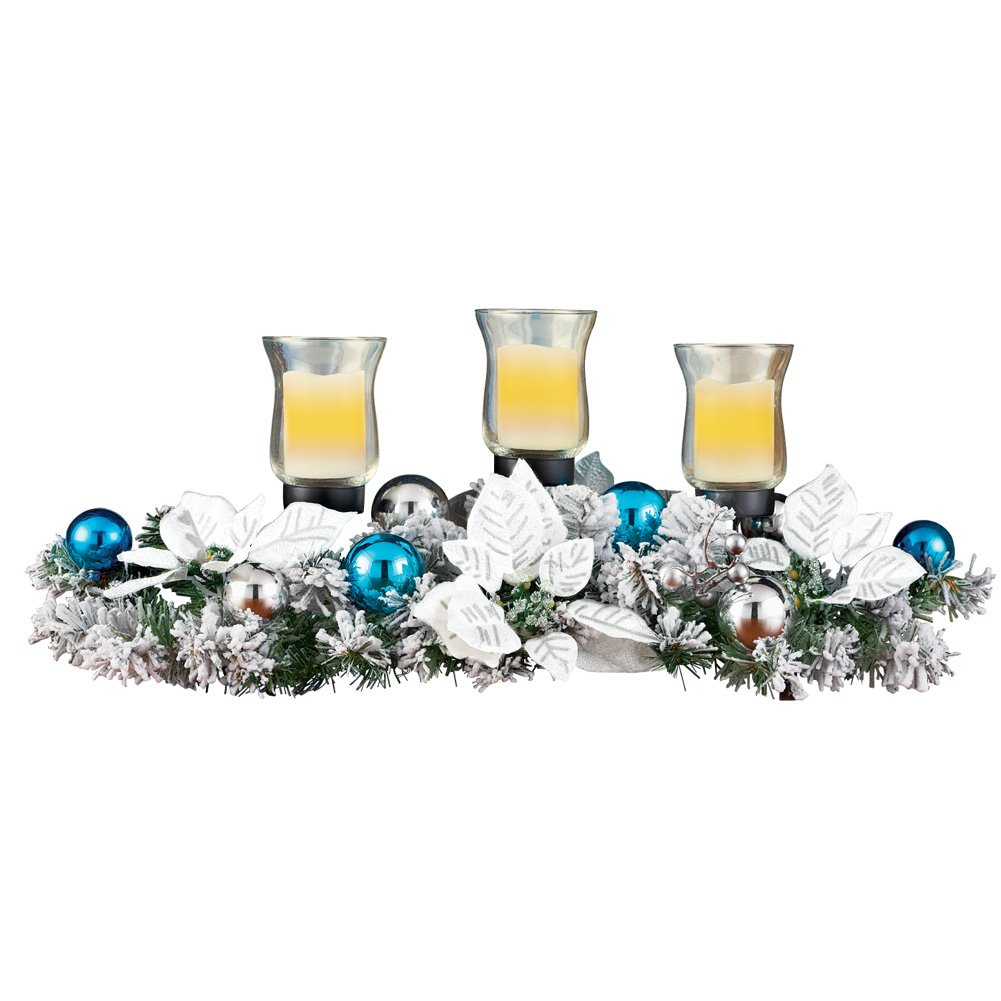 Poinsettia Frosted Evergreen Candle Centerpiece