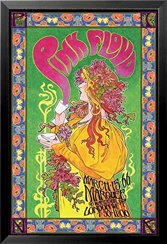 Buyartforless If Aq 241240 36X24 1 25 Black Framed Pink Floyd London March 1966 Marquee Concert By Bob Masse 36X24 Music Art Print Poster