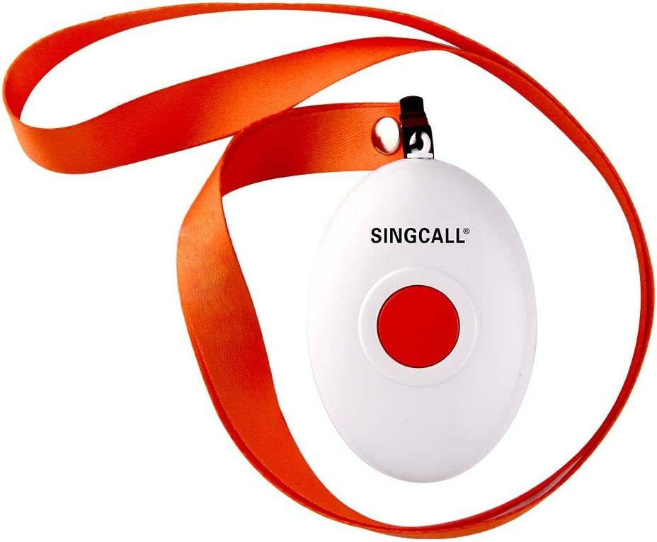 Singcall Home Caring Alarm System Nurse Call Oval Rounded Lightweight Convenient Fit For Old Patients Children A Caregiver Receiver 2 Necklace Pagers Amazon Ca Office Products