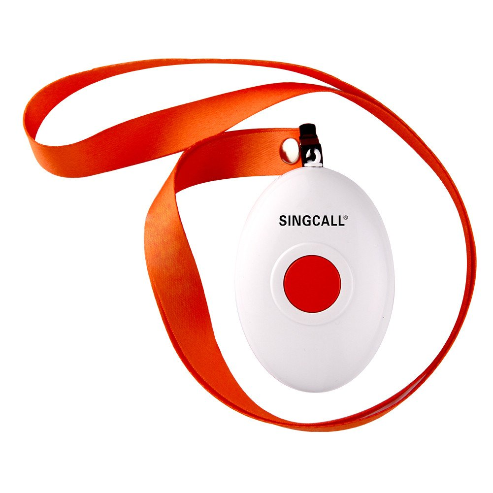 SINGCALL® Oval Rounded Shape with Lightweight, Comfortable to Wear, More Convenient, Fit for Old, Patients or Children, Suitable to Patrol Officers' Calling, One-button Pager(APE160)it Can't Be Used Alone!!