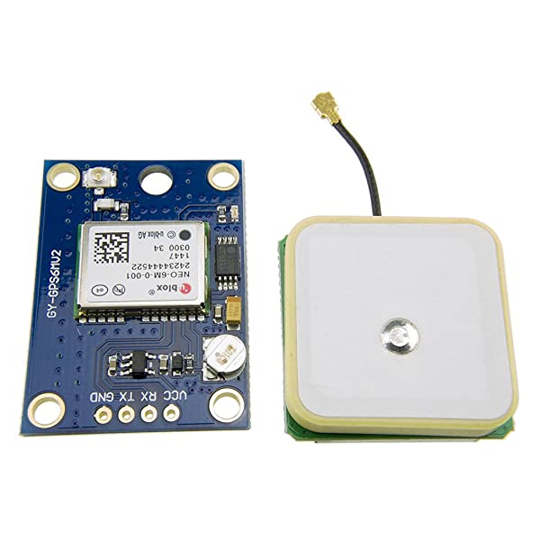 HiLetgo GY-NEO6MV2 Flight Controller NEO-6M APM 2.5 Flight Controller GPS Module with Super Strong Ceramic Antenna for Arduino EEPROM (Color: Blue, Tamaño: Small)