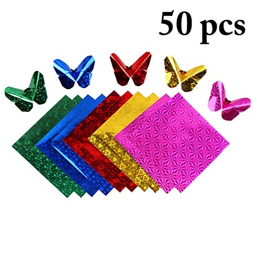 Buy Justdolife 50pcs Origami Paper Glitter Origami Sheet Square Sheet For Art Craft Online At Low Prices In India Amazon In