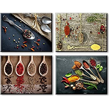 SZ Canvas Prints for Kitchen Wall Decor, 4 Piece Set Spice and Spoon Vintage Canvas Wall Art Picture, Ready to Hang