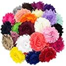 "JLIKA (50 pieces) Shabby Flowers - Chiffon Fabric Roses - 2.5"" - Solids Color Mix - Single Flowers Grab Bag"