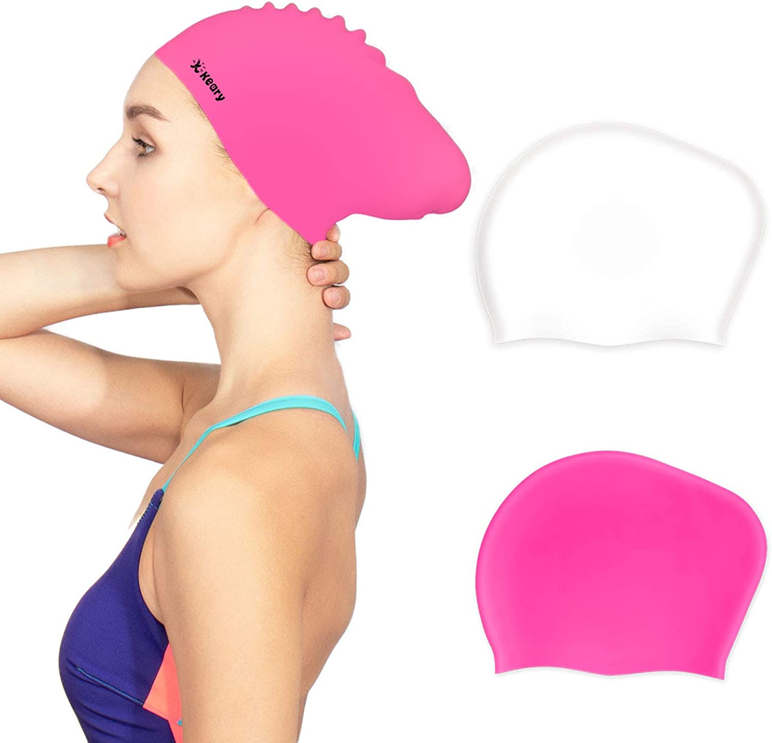 Keary 2 Pack Updated Silicone Swim Cap for Long Hair Women Girl Waterproof Bathing Pool Swimming Cap Cover Ears to Keep Your Hair Dry, 3D Soft Stretchable Durable and Anti-Slip, Easy to Put On and Off