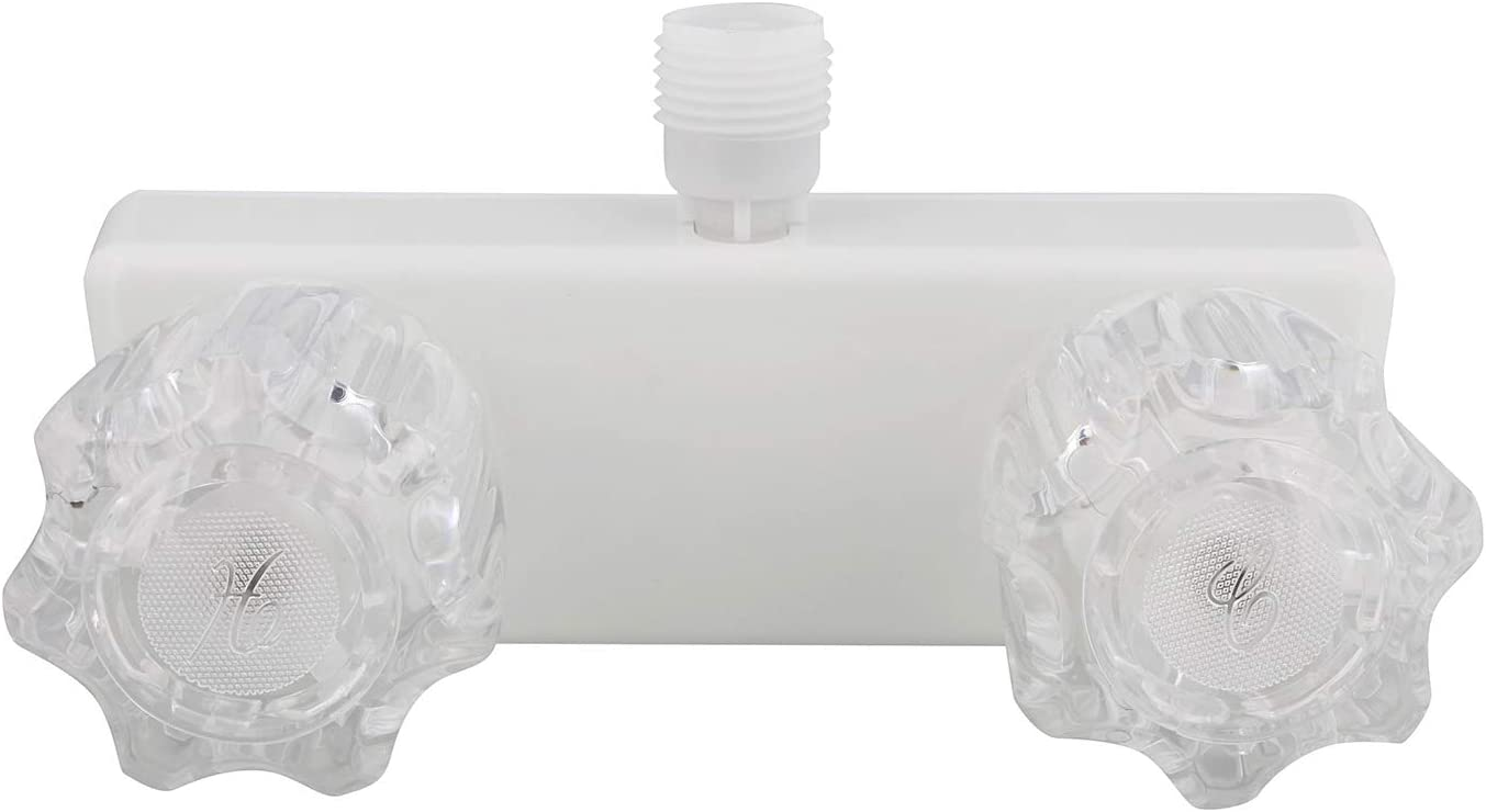 Empire Faucets RV Shower Valve Kit - 4 Inch Shower Diverter and Vacuum Breaker Unit, White with Crystal Knobs