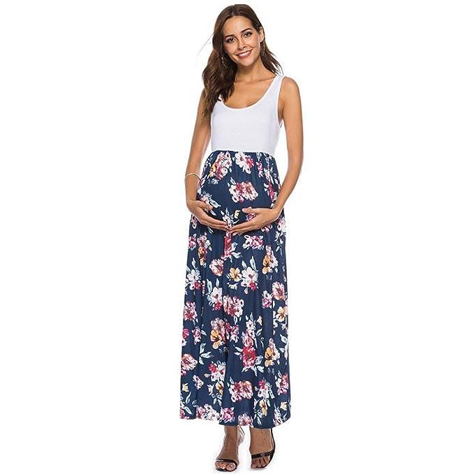 385ea563a GUCIStyle Vestido De Maternidad Ropa De Maternidad Primavera Sin Mangas De  Las Mujeres Embarazada Acanalada Vestido De Maternidad Maxi Sundress Floral  De La ...