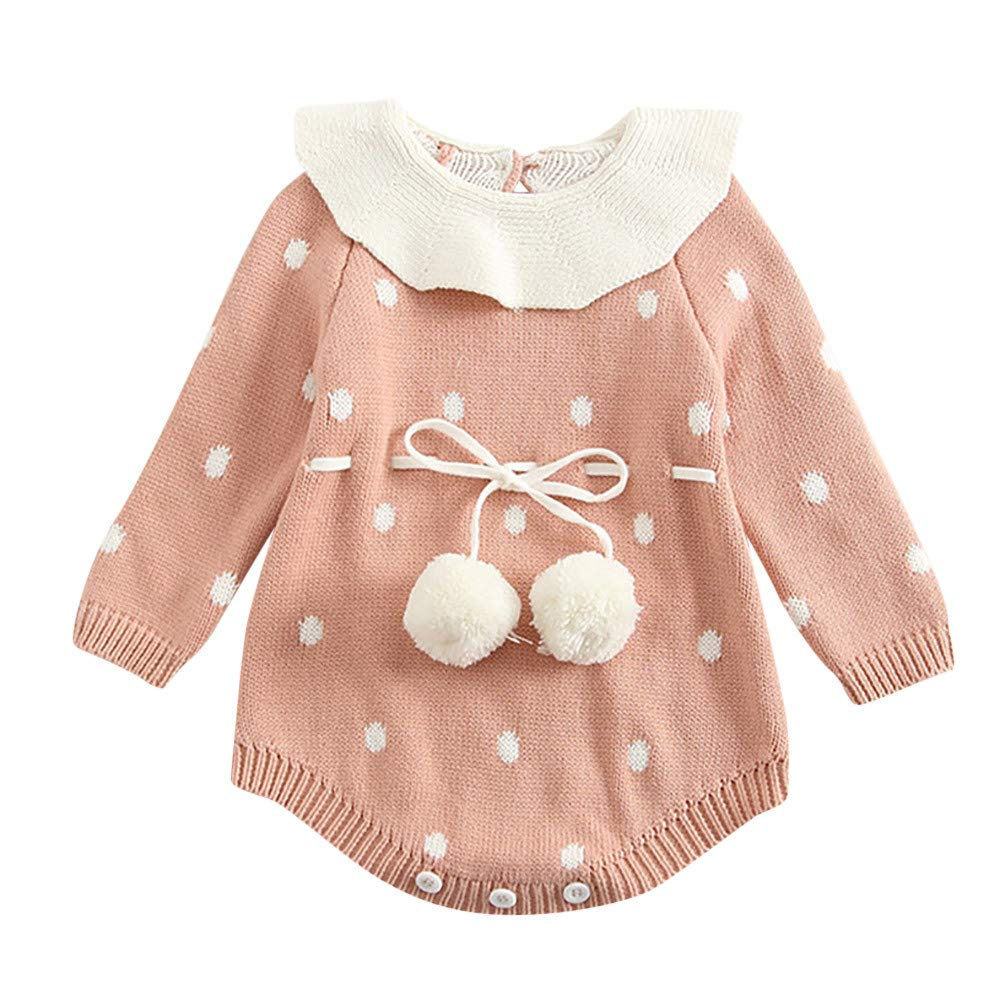 Sagton Infant Newborn Baby Boy Girl Knit Dot Ball Romper Bodysuit Crochet Clothes Outfits
