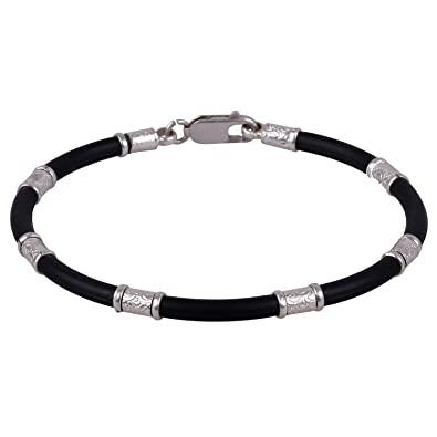 bad44b40642ac7 Buy Trendy ARISIDH Genuine 92.5 Pure Sterling Silver Black Rubber Bracelet  kada for Men, Women, Boys and Girls. Online at Low Prices in India | Amazon  ...