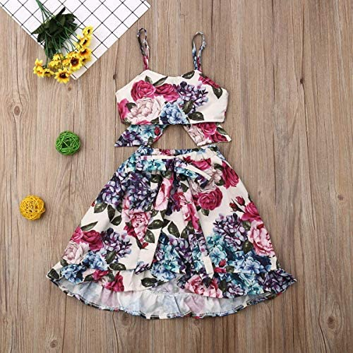 mettime Baby Girl Skirt Sets Strap Top+Denim Shorts Kids Summer Outfits Set Floral Tops and Skorts