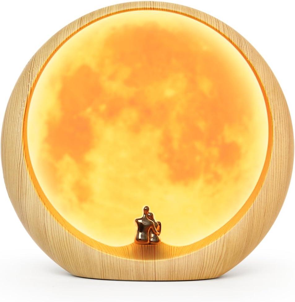 Lámpara Ambiental de Luna para Aniversario, Boda y día de San Valentín, Regalo de Decoración Artística, Amor bajo la Luna Roja (No Recargable)