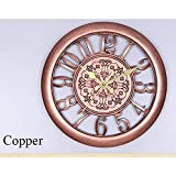 Zoomlie European Retro, Creative Wall Clock, Mute Quartz Movement, Plastic Frame, Plexiglass Mirror, PVC Dial, for Study Rooms, Offices, Bedrooms, Living Rooms, Kitchens, Bathrooms, 28cm, Copper
