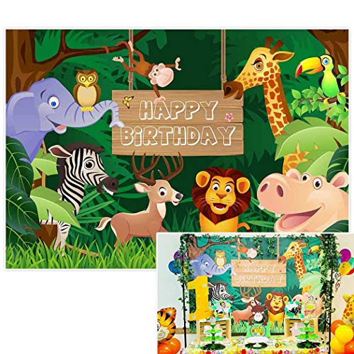 Allenjoy 7x5ft Jungle Safari Themed animals birthday party banner photo backdrop background photography ()