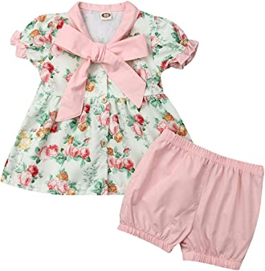 3M-6T Girls Summer Outfit Shorts /& T-Shirt Floral Print Outfit Baby Clothing Set Toddler Clothing Set Kids Summer Outfit