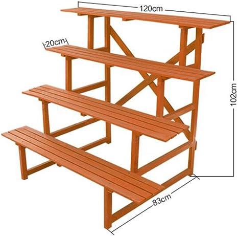YQQ Soporte de la Planta Puesto de Flores Macetero Escalera Madera Maciza Estante Bonsai Multicapa balcón: Amazon.es: Hogar