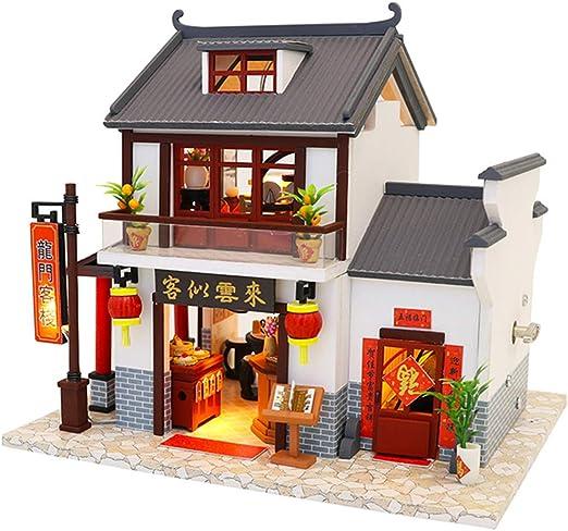 GEPFD-DIY Mini Muebles de Madera para Casas de muñecas, Bricolaje Modelo de casa pequeña, Modelo de construcción de Rompecabezas, Vintage Chino Loft artesanía Hecha a Mano, para niños y Adolescentes: Amazon.es: Jardín