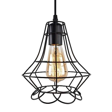 Amazon Com Oyi Wire Cage Pendant Light Retro Industrial 1 Light