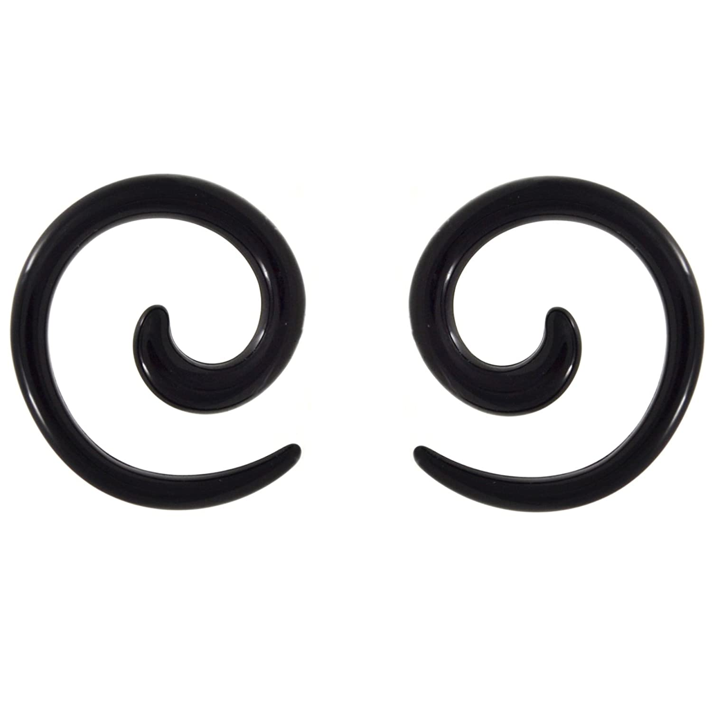 Pair (2) Black Acrylic Spiral Tapers Ear Plugs Expanders Gauges- 12G 2MM