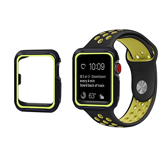 Compatible con Funda Apple Watch Series 4 44mm 40mm Silicona Doble color Caso Protectora Anti-Choque Ligero Anti-Arañazos Cubierta Caja para iWatch ...