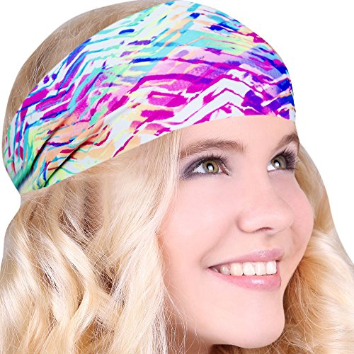 Best No Slip Neon Stripe Printed Headband Wicking Work Out Wide Yoga Running Crossfit Sports Comfortable Spandex Perfect Gift Made in USA