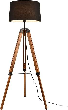Lampe noire pied bois et métal