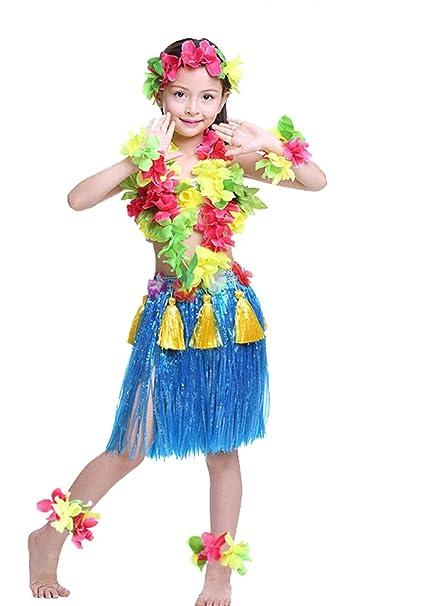 Rosemary Hawaiian Hula Dance Costume Ballet Show Cosplay Dress Skirt Garland For Kids Girls 40cm Full