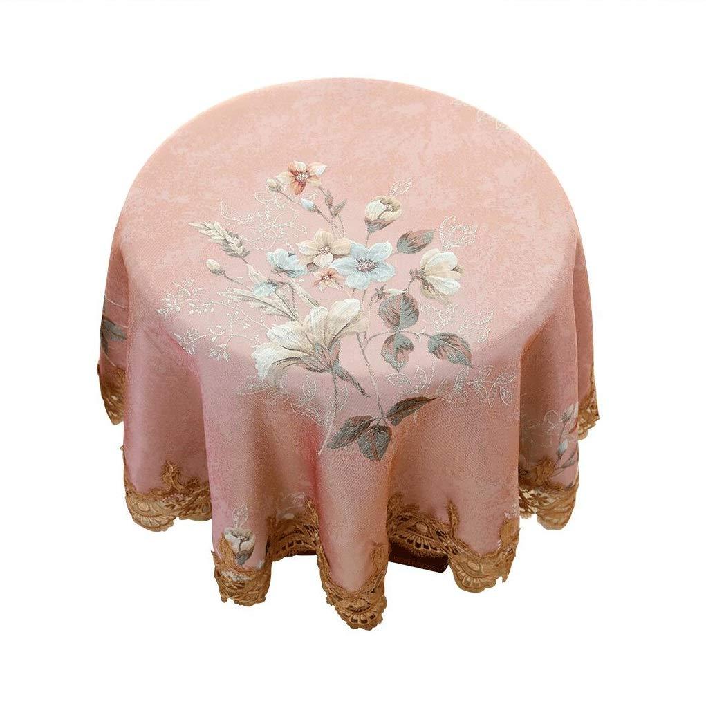 テーブルクロスヨーロッパスタイル家庭用大きなラウンドテーブルコーヒーテーブルテーブルクロス生地ピンク女の子新鮮なレースラウンドテーブルクロス (Size : 200cm diameter) 200cm diameter  B07SRYDB4B