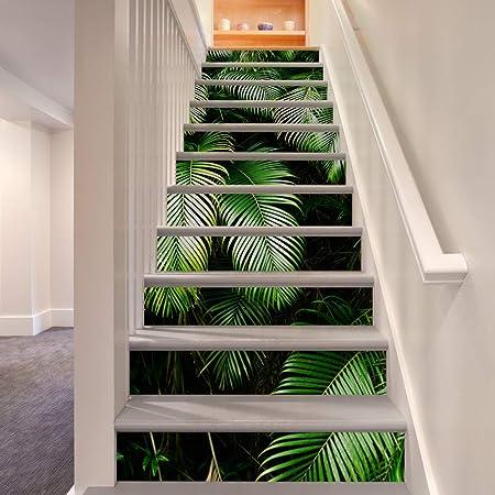 Escalera pegatinas Sel adhesivo impermeable Renova Creativo 3D Hoja de Palma Bosque Tropical Escalera Elevadores Etiqueta Mural Extraíble Murales Pegatinas Decoración Del Hogar 13 UNIDS Etiqueta de la: Amazon.es: Hogar