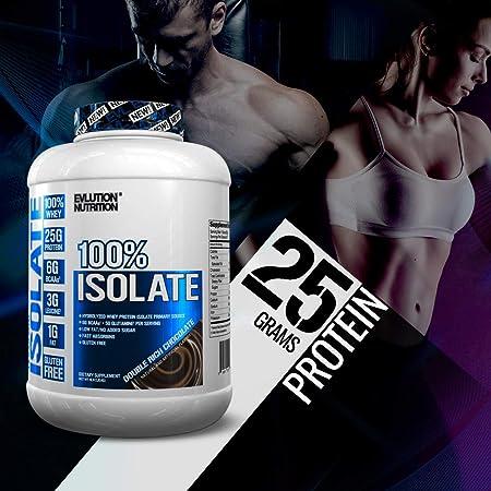 Evlution Nutrition 100% Whey Isolate Protein, Fuente Primaria Aislada de Proteína de Suero Hidrolizada, Absorbe la Grasa, Sin Azúcar Agregada, ...