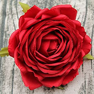 SIUONI Artificial Flower Rose Flower Head Wedding Opening Celebration Hotel Venue Background DIY Handmade Felt Fake Flower (Big Red) 59