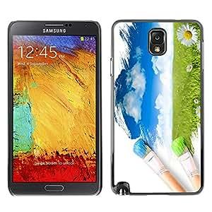 Caucho caso de Shell duro de la cubierta de accesorios de protección BY RAYDREAMMM - Samsung Galaxy Note 3 N9000 N9002 N9005 - Painter Nature Brush