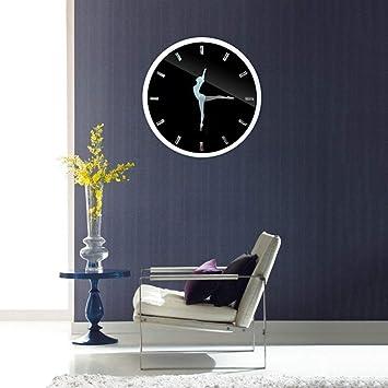 LKOPSLA Reloj de Pared Blanco Rojo metálico Redondo y la Relojería Moderno Apto para Salón y