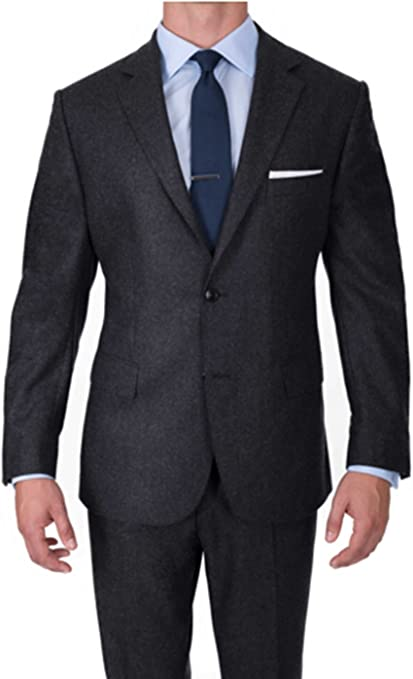 LoveeToo Mens Slim Fit Formal Two Pieces Solid Mens Suits Set Business Suit Sets with Paint Two Button