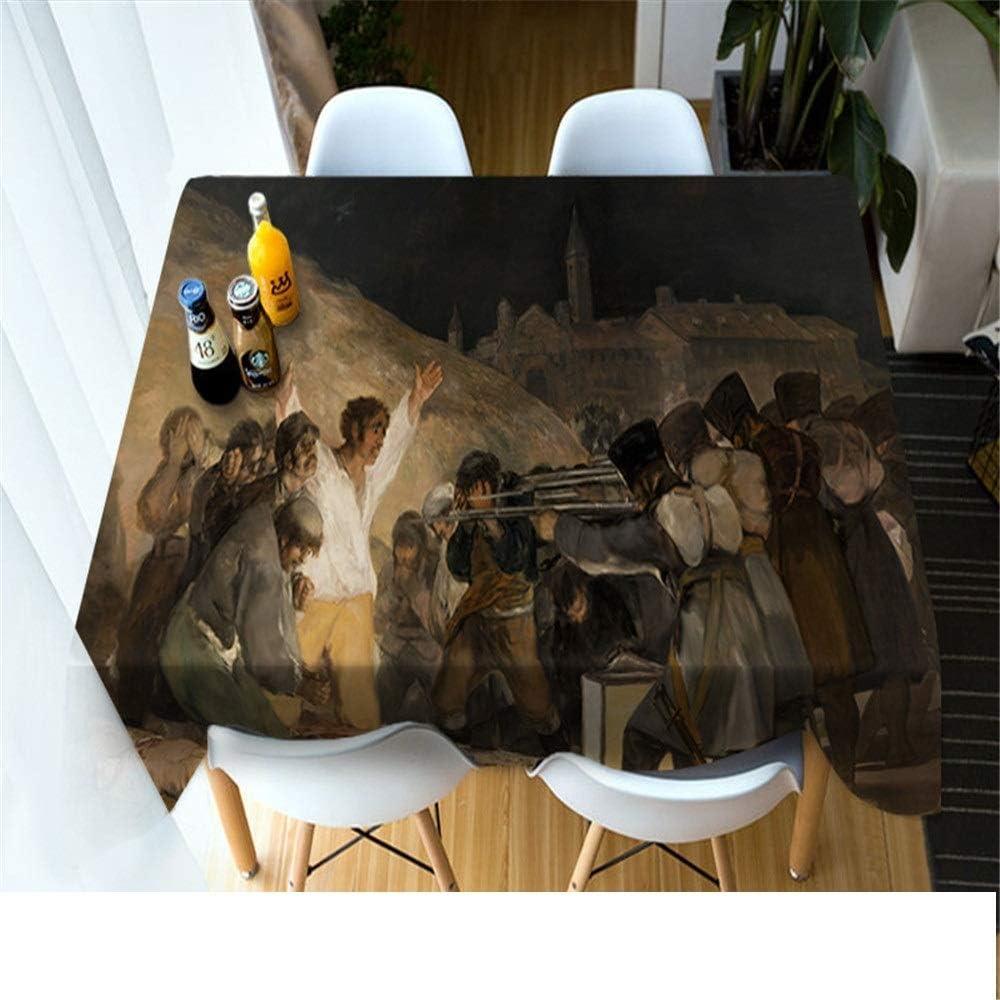 QWEASDZX Nappe Polyester 3D Num/érique Impression Pique Nique Nappe Anti-Encrassement Nappe Rectangulaire R/éutilisable Convient pour 90x90cm Int/érieur Et Ext/érieur