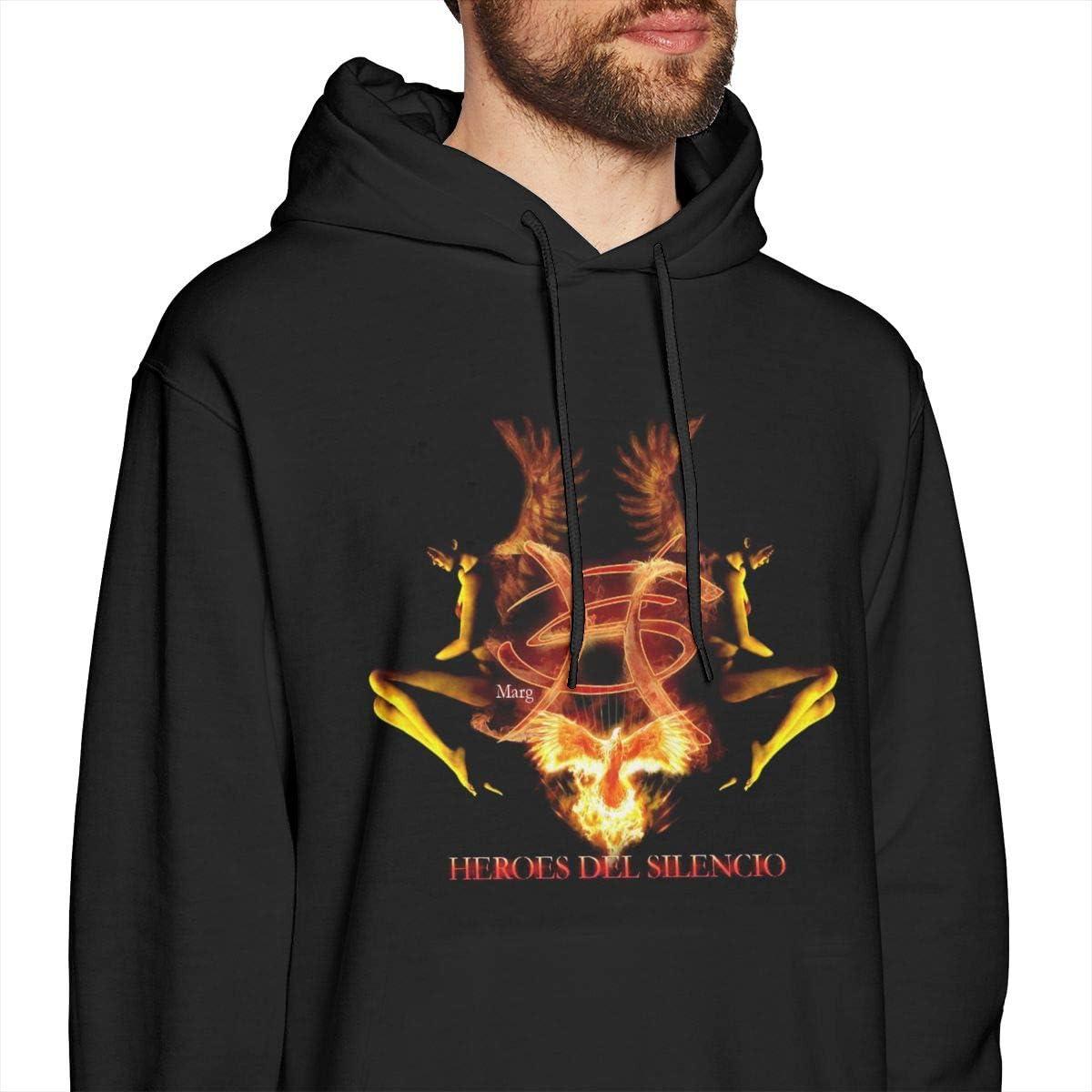 Lanmei Mens Heroes Del Silencio Hooded Sweatshirt Black