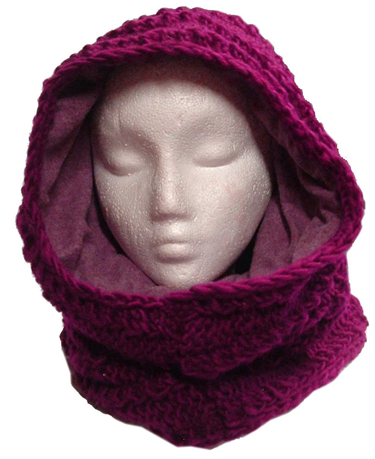 Thick Fleece Lined Wool Mobius Scarf/Hoodie (Berry) at Amazon ...