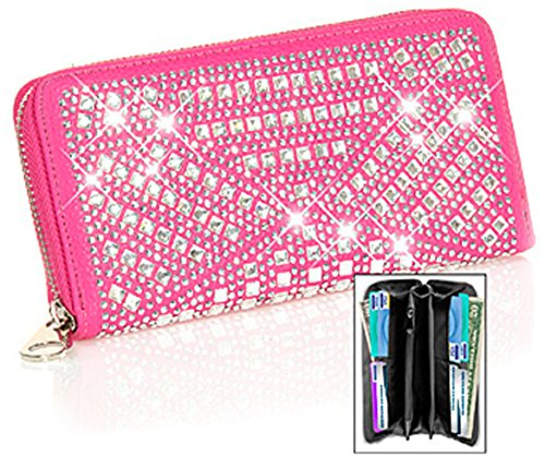 Gem Sparkle - Zzfab Gem Sparkle Wallet Matching Rhinestone Wallet for Sparkle Purse Fuchsia