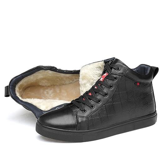 HHY-BreathableWinter confortable en cuir et chaussures pour hommes version coréenne de la Commission coton chaussures chaussures code king size men's casual chaussures, noir - coton plus,41