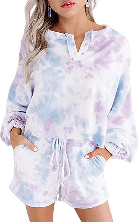 Kids Toddler Baby Girl Boy Two Piece Pajamas Set Tie Dye Print Long Sleeve Button Sleepwear Nightwear Loungewear