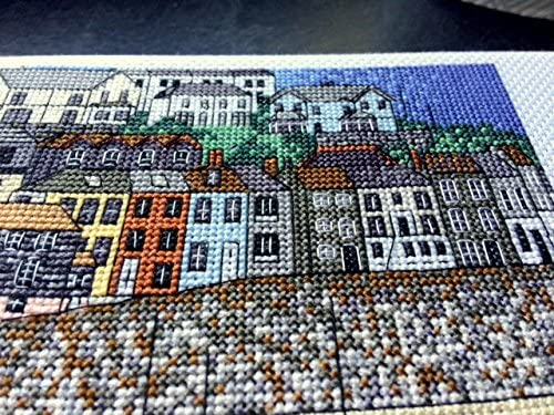 Cornwall-Cross Stitch 14 Comte Mevagissey Harbour Art Cross Stitch Kit