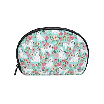 8c4ceb9794cc Amazon.com : Half Moon Cosmetic Beauty Bag Havanese dog Travel Handy ...